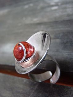 Orbit ring Sterling silver Sponge coral and copper by aforfebre