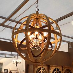 Wooden Orb Chandelier Metal Orb Detail And Crystal - lighting £950
