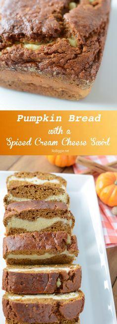 pumpkin bread with a pumpkin spiced cream cheese swirl | NoBiggie.net