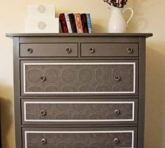 Dresser re-do. Modge podge lace onto the front of the drawers & then paint over the top. @Randi Busse