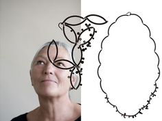 JANINE ARNOLD-DE Necklace: Series Discs and Plants 2010Silver rhodium treated, diamonds50 cm