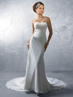 Halter Chapel Train Sheath Chiffon Wedding Dress