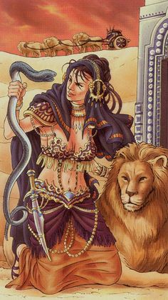 Ishtar as the strength in tarot. Universal Goddess Tarot deck by Maria Caratti & Antonella Platano Tarot Card Decks, Tarot Cards, Strength Tarot, Lion Love, Joker, Galaxy Painting, Aleister Crowley, Major Arcana, Oracle Cards