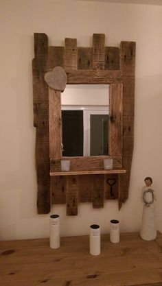 Handmade rustic reclaimed pallet & barnwood mirror by ConwyRustics Pallet Furniture, Furniture Projects, Rustic Furniture, Wood Projects, Woodworking Projects, Pallet Barn, Barn Wood, Rustic Wood, Rustic Decor