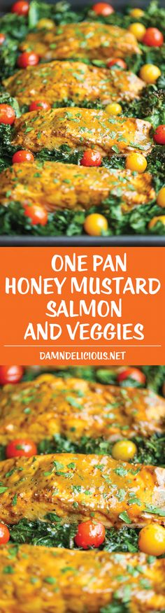 One Pan Salmon and Veggies - The easiest, most flavorful honey mustard salmon you will ever make with roasted kale and tomatoes, all cooked in a single pan!