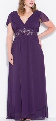 Zeilei Plus Size Chiffon Mother of Bride Cap Sleeve Long Gown in Plum Exclusive Deal | Wedding & Bridesmaid Dresses