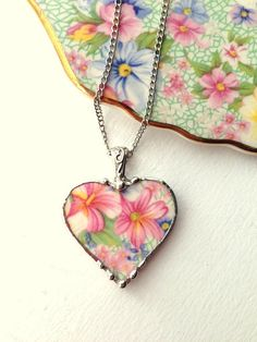 Broken china jewelry heart pendant necklace Royal Wintion Marion chintz pastel floral