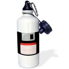 3dRose Retro 90s computer black floppy disk graphic design with red label - 1990s - ninties computer tech, Sports Water Bottle, 21oz