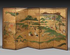 Lot : PARAVENT À CINQ FEUILLES SUR PAPIER À FOND OR, JAPON, PÉRIODE EDO, XVIIIe SIÈCLE[...] | Dans la vente Art d'Asie à Artcurial