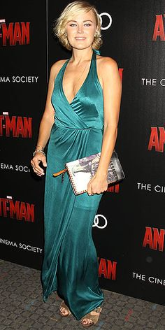 Last Night's Look: Love It or Leave It? Vote Now! | MALIN AKERMAN | in a deep teal halter gown at The Cinema Society and Audi's screening of Marvel's Ant-Man in N.Y.C.