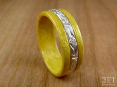 Yellowheart Bentwood Ring with Sterling by JETbentwoodjewelry