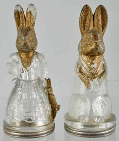Glass Rabbit Candy Containers