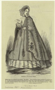 The Out-Door Dress consists of a pardessus of black silk, edged with black lace, underlaid with a white silk ruche, which displays the lace.  There is also a gimp passamenterie. June 1864 Harpers Magazine