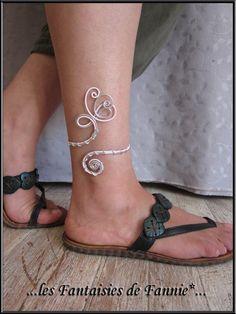 """Bracelet cheville DESIGN alu """"ARGENT et ROSE PASTEL """" ajustable : Bracelet par les-fantaisies-de-fannie"""
