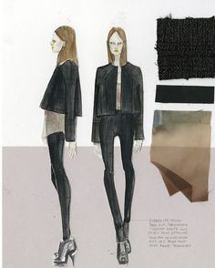 Fashion Sketchbook page from Katty Hoelck's fashion journal