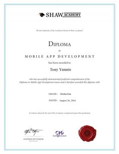 Shaw Academy - Final Assignment: Mobile App Development - Part I Tony Yunnie's Certificate