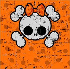 cute skeleton clip art | Illustration Of Cute Halloween Skull With Bow. Vector Clip Art To ...