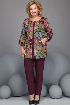 Ensemble pantalon Ivelta plus 2816 Bordeaux avec couleur - Vêtements femme - Женские костюмы Stylish Dresses For Girls, Simple Dresses, Pretty Dresses, Casual Dresses, Kurta Designs, Blouse Designs, Fall Fashion Outfits, Womens Fashion, Mix Match Outfits