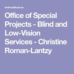 Office of Special Projects - Blind and Low-Vision Services - Christine Roman-Lantzy