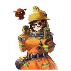 Firefighter Mei by Unknown Artist Overwatch Mei, Overwatch Comic, Overwatch Fan Art, Mei Ling Zhou, Soldier 76, V Games, Video Games, Fanart, Widowmaker