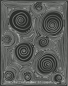 Going in circles 3.  White Gelly Roll pen on black cardstock.  copyright 2014 june crawford, acreativedreamer.blogspot.com