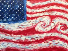 Come paint this cool Van Gogh style American flag