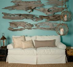 Coastal Home: 10 Ways to add texture to your space.   More driftwood wall decor ideas here: http://www.completely-coastal.com/2011/09/large-drift-wood-wall-art-go-collage-or.html