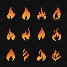 Vector set of flame symbols by yod67 on Creative Market
