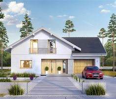 Projekt domu z poddaszem Montreal o pow. 160,2 m2 z garażem 1-st., z dachem dwuspadowym, z tarasem, sprawdź! Simple House Design, Dream House Plans, Home Design Plans, House Rooms, Cladding, Home Fashion, Tiny House, Exterior, Outdoor Structures