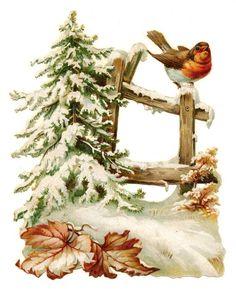 Glanzbilder - Victorian Die Cut - Victorian Scrap - Tube Victorienne - Glansbilleder - Plaatjes : Wintervogel