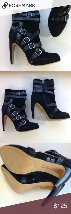 2ed616d3a38e1 NEW SAM EDELMAN black suede mid calf boots 42 10.5 These are something  else. 5 gunmetal gray buckle strap derail