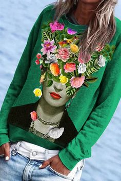 Tween Fashion, Fashion Outfits, Flower On Head, Tammy Love, Spring And Fall, Printed Sweatshirts, Sweater Shirt, Types Of Sleeves, Passion For Fashion