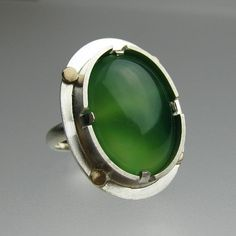 Emerald Green Agate Sterling Silver Ring with 10k by tkmetalarts