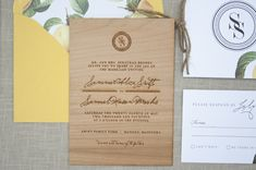 Elegant & rustic wood engraved wedding invitations by http://paper-airplanes.ca on http://ohsobeautifulpaper.com. Inspired by crab apples, engraved on cherry wood veneer. Absolutely perfect invite suite!