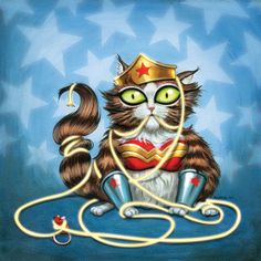 Wondercat - 8 x 8 art print - kitty dressed up like wonder woman cat lasso stars blue Hello Kitty, Crazy Cat Lady, Crazy Cats, Saint Yves, Super Cat, Cat Dresses, I Love Cats, Cat Art, Wonder Woman