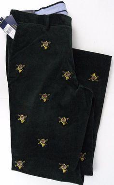 NWT Polo Ralph Lauren Mens 36X32 Hunting Horn Embroidered Fox Green 100% Cotton #PoloRalphLauren #Corduroys