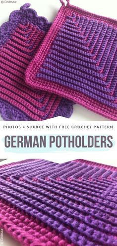 German Potholders Free Crochet Pattern Refresh your kitchen with our collection of Thick Crochet Potholders. These beauties are very useful and versatile, because you can use them in many ways. Crochet Home, Crochet Crafts, Crochet Projects, Crochet Ideas, Crochets En Crochet, Crochet Needles, Crochet Hot Pads, Confection Au Crochet, Crochet Potholders