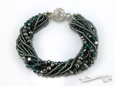 Green Multi strand Crystal bracelet gray by OohlalaBeadtique $22.00 #gifts #gift #jewelry #bracelet #fashion #trends #accessories #green #formalwear