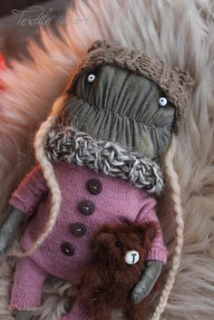 Marlene monster stuffed art doll creature by IrinaSTextileheart