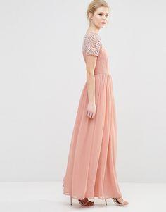 Image 4 ofMaya Petite Pleated Maxi Dress With Pearl Embellishment