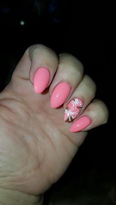 T-Nails in Auburn, AL  Coral color,  spring,  free hand design