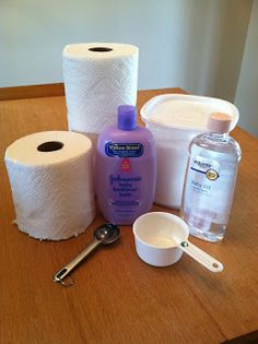 DIY BABY WIPES. Use Bounty paper towels, a plastic airtight container from Wal-mart or Target. 1 tbsp baby soap, 1 tbsp baby oil, 2 cups warm water. Put ingredients in the container. Cut the roll of paper towels in half and place in container. Seal and flip over to soak up liquid for at least 3 hrs.  Remove the cardboard tube and start pulling the towels from the center.