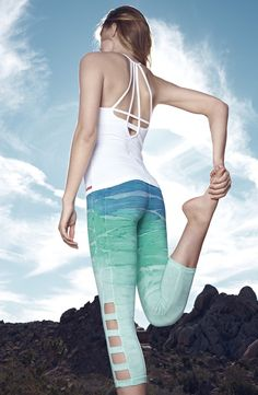 Bold leggings and a tank add a cool and trendy look to the active gear.