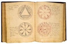 A grimoire or textbook on magic of medieval origin Pentacle, Alphabet Symbols, Magic Book, Old Books, Pen And Paper, Illuminated Manuscript, Voynich Manuscript, Book Of Shadows, Sacred Geometry
