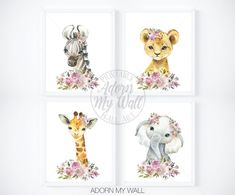 Nursery Wall Art Girl, Safari Animal Printables, Girls Nursery Prints, Floral Animal Prints, Mauve, Purple, Zebra, Elephant, Lion, Giraffe