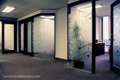 Frosted etch window film, computer cut geometric design.