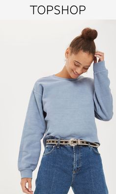Introduce this pastel cropped sweatshirt to your basics draw. In soft cotton-blend fabric this simple design is complete with a crew neckline and raw edges. It's great for teaming with your weekend outfits.