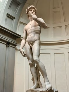 'David' by Michelangelo, height ft, marble. at David @ L'Accademia, Florence, Italy. Michelangelo was a great sculptor even more than a painter. David is his most famous sculpted work. Michelangelo, Miguel Angel, Famous Artists, Great Artists, Florence Tours, Florence Italy, Florence Art, The David Statue, Monuments