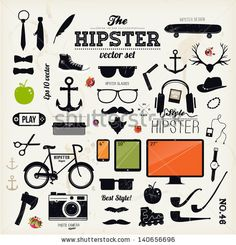 Hipster style infographics elements and icons set for retro design. With bicycle, sunglasses, mustache, bow, anchors, apple and camera. Vect...