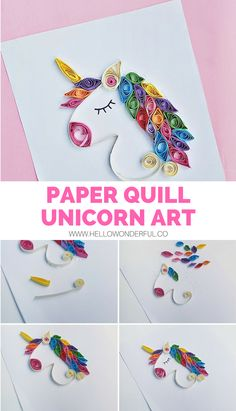 Paper Quill This Magical Unicorn With Our Free Template Quilling designs for kids Free Quilling Patterns, Paper Quilling Designs, Quilling Paper Craft, Paper Crafts For Kids, Crafts For Teens, Quilling Ideas, Paper Crafting, Diy Crafts, Quilling Comb